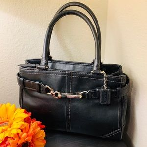 Coach F11199 Black Hampton Leather Caryall EUC!